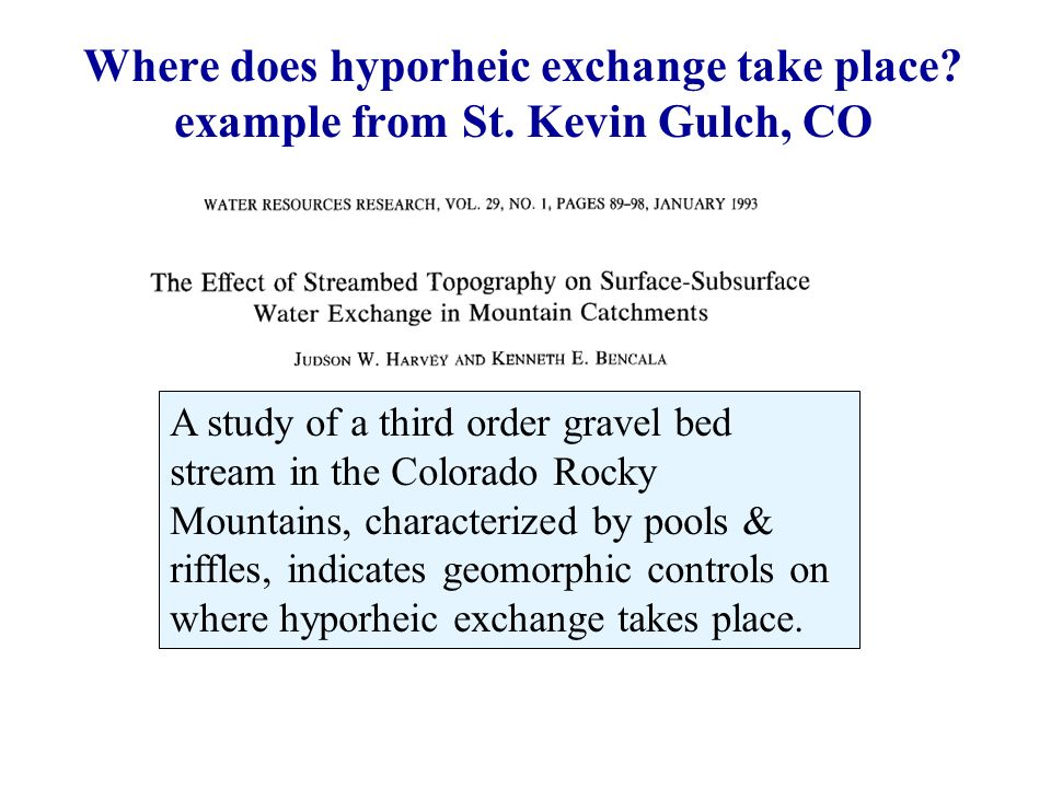 Where does hyporheic exchange take place. example from St.