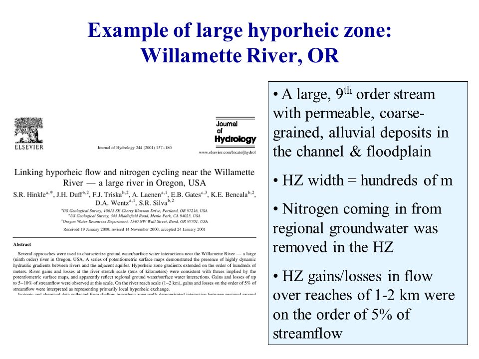 A large, 9 th order stream with permeable, coarse- grained, alluvial deposits in the channel & floodplain HZ width = hundreds of m Nitrogen coming in