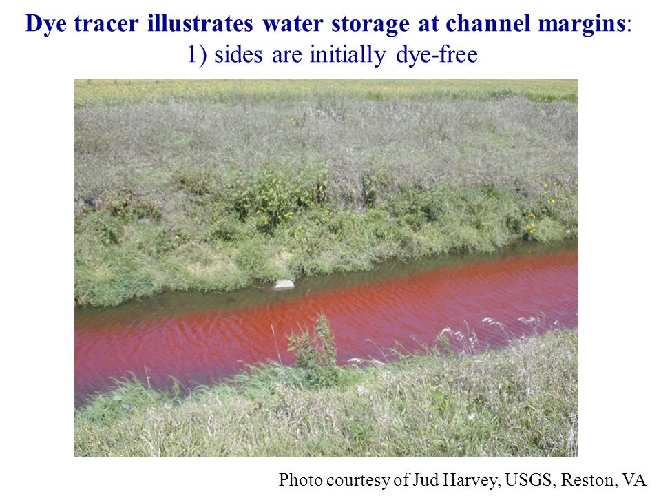 Dye tracer illustrates water storage at channel margins: 1) sides are initially dye-free Photo courtesy of Jud Harvey, USGS, Reston, VA