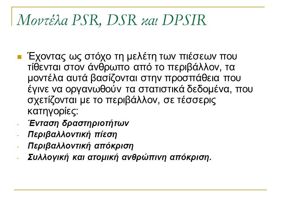 Μοντέλα PSR, DSR και DPSIR Έχοντας ως στόχο τη μελέτη των πιέσεων που τίθενται στον άνθρωπο από το περιβάλλον, τα μοντέλα αυτά βασίζονται στην προσπάθεια που έγινε να οργανωθούν τα στατιστικά δεδομένα, που σχετίζονται με το περιβάλλον, σε τέσσερις κατηγορίες: - Ένταση δραστηριοτήτων - Περιβαλλοντική πίεση - Περιβαλλοντική απόκριση - Συλλογική και ατομική ανθρώπινη απόκριση.