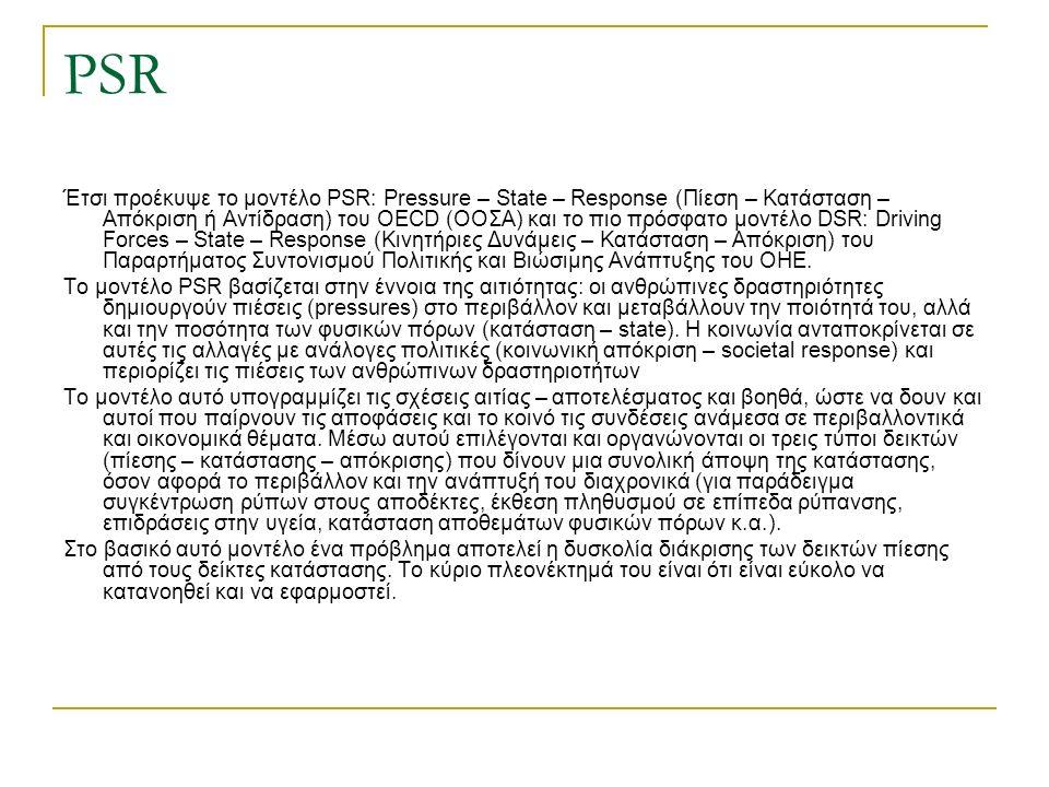 PSR Έτσι προέκυψε το μοντέλο PSR: Pressure – State – Response (Πίεση – Κατάσταση – Απόκριση ή Αντίδραση) του OECD (ΟΟΣΑ) και το πιο πρόσφατο μοντέλο DSR: Driving Forces – State – Response (Κινητήριες Δυνάμεις – Κατάσταση – Απόκριση) του Παραρτήματος Συντονισμού Πολιτικής και Βιώσιμης Ανάπτυξης του ΟΗΕ.