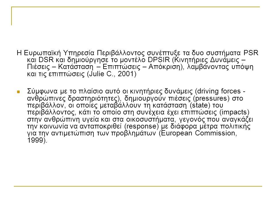 Η Ευρωπαϊκή Υπηρεσία Περιβάλλοντος συνέπτυξε τα δυο συστήματα PSR και DSR και δημιούργησε το μοντέλο DPSIR (Κινητήριες Δυνάμεις – Πιέσεις – Κατάσταση – Επιπτώσεις – Απόκριση), λαμβάνοντας υπόψη και τις επιπτώσεις (Julie C., 2001) Σύμφωνα με το πλαίσιο αυτό οι κινητήριες δυνάμεις (driving forces - ανθρώπινες δραστηριότητες), δημιουργούν πιέσεις (pressures) στο περιβάλλον, οι οποίες μεταβάλλουν τη κατάσταση (state) του περιβάλλοντος, κάτι το οποίο στη συνέχεια έχει επιπτώσεις (impacts) στην ανθρώπινη υγεία και στα οικοσυστήματα, γεγονός που αναγκάζει την κοινωνία να ανταποκριθεί (response) με διάφορα μέτρα πολιτικής για την αντιμετώπιση των προβλημάτων (European Commission, 1999).