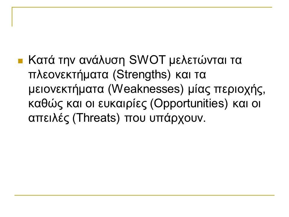 Κατά την ανάλυση SWOT μελετώνται τα πλεονεκτήματα (Strengths) και τα μειονεκτήματα (Weaknesses) μίας περιοχής, καθώς και οι ευκαιρίες (Opportunities) και οι απειλές (Threats) που υπάρχουν.