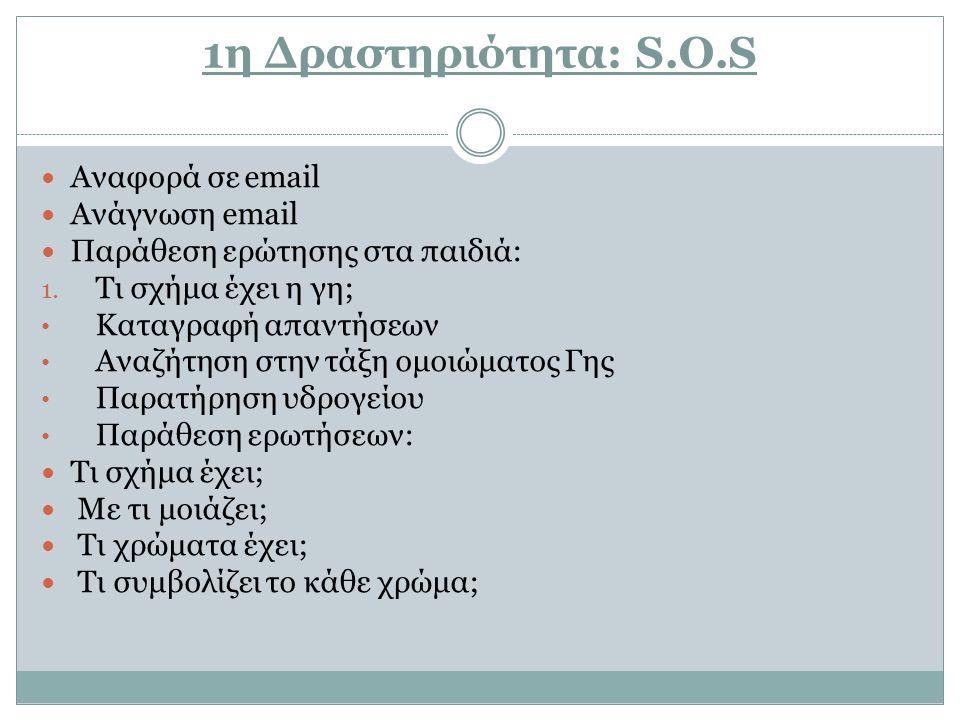 1η Δραστηριότητα: S.O.S Αναφορά σε email Ανάγνωση email Παράθεση ερώτησης στα παιδιά: 1. Τι σχήμα έχει η γη; Καταγραφή απαντήσεων Αναζήτηση στην τάξη