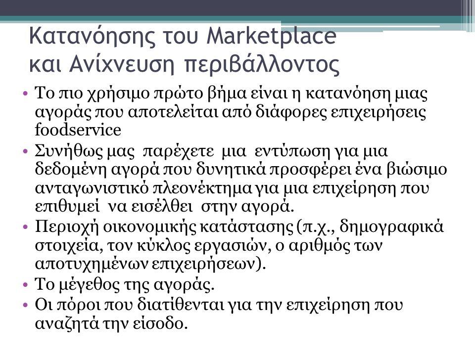 Κατανόησης του Marketplace και Ανίχνευση περιβάλλοντος Το πιο χρήσιμο πρώτο βήμα είναι η κατανόηση μιας αγοράς που αποτελείται από διάφορες επιχειρήσεις foodservice Συνήθως μας παρέχετε μια εντύπωση για μια δεδομένη αγορά που δυνητικά προσφέρει ένα βιώσιμο ανταγωνιστικό πλεονέκτημα για μια επιχείρηση που επιθυμεί να εισέλθει στην αγορά.