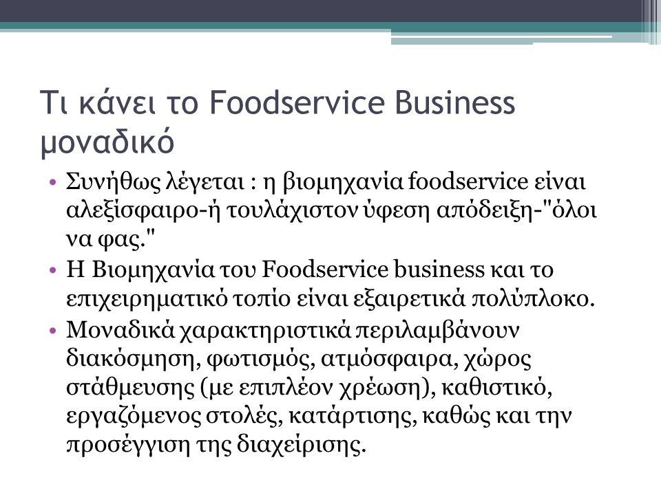 Βασικά χαρακτηριστικά Αστάθεια των πωλήσεων Η οικονομία Η εποχικότητα Οι μέρα-μέρα πωλήσεις Η εντός της ημέρας αστάθεια Συντήρηση προϊόντων Ένταση εργασίας Η ευκολία με την οποία σε μία επιχείρηση μπορούν να αναπαράγουν τις προσφορές τροφίμων.