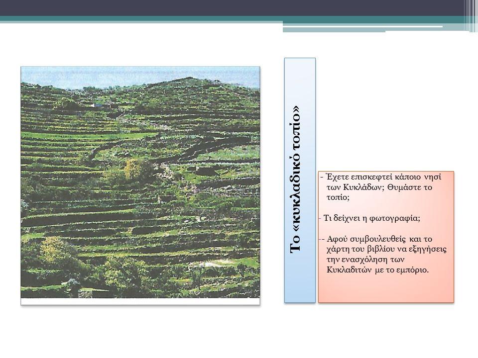 Το «κυκλαδικό τοπίο» - Έχετε επισκεφτεί κάποιο νησί των Κυκλάδων; Θυμάστε το τοπίο; - Τι δείχνει η φωτογραφία; -- Αφού συμβουλευθείς και το χάρτη του βιβλίου να εξηγήσεις την ενασχόληση των Κυκλαδιτών με το εμπόριο.