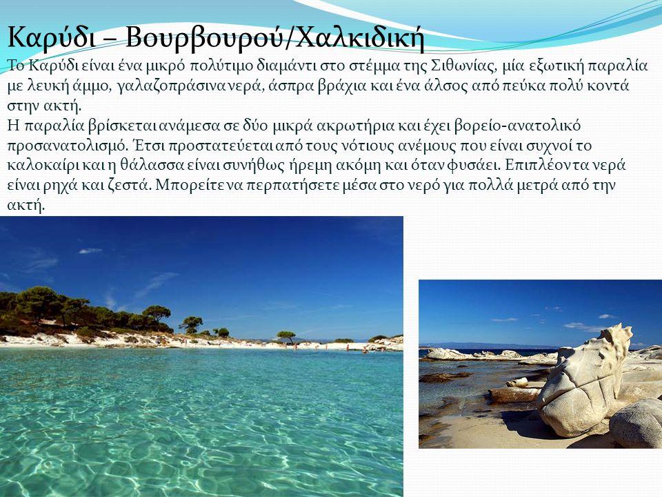 Το Καρύδι είναι ένα μικρό πολύτιμο διαμάντι στο στέμμα της Σιθωνίας, μία εξωτική παραλία με λευκή άμμο, γαλαζοπράσινα νερά, άσπρα βράχια και ένα άλσος από πεύκα πολύ κοντά στην ακτή.
