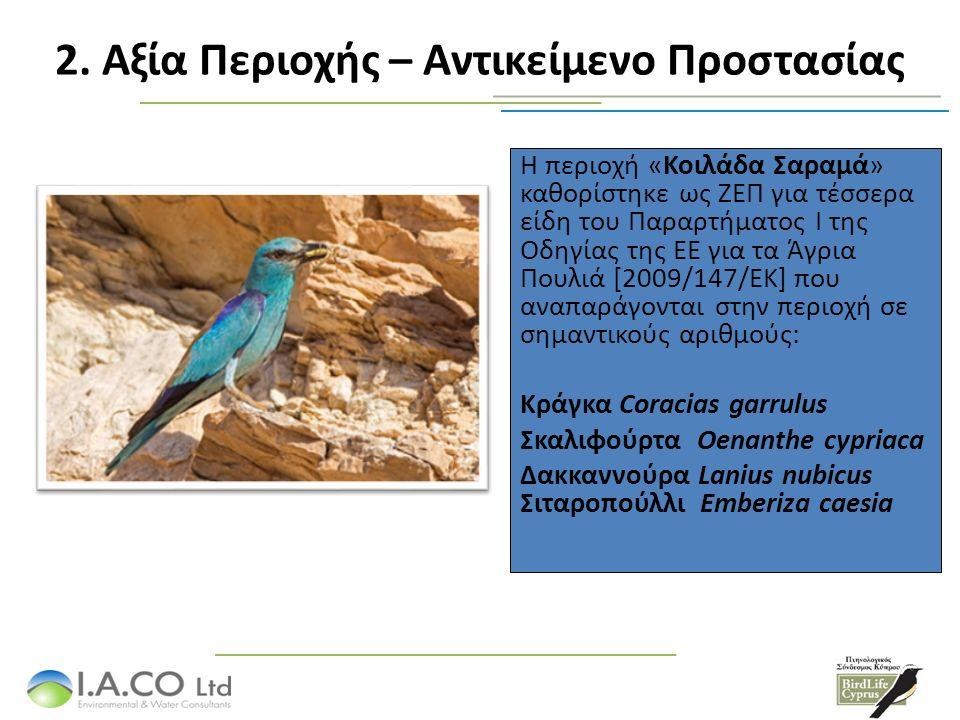 Η περιοχή «Κοιλάδα Σαραμά» καθορίστηκε ως ΖΕΠ για τέσσερα είδη του Παραρτήματος Ι της Οδηγίας της ΕΕ για τα Άγρια Πουλιά [2009/147/ΕΚ] που αναπαράγονται στην περιοχή σε σημαντικούς αριθμούς: Κράγκα Coracias garrulus Σκαλιφούρτα Oenanthe cypriaca Δακκαννούρα Lanius nubicus Σιταροπούλλι Emberiza caesia 2.
