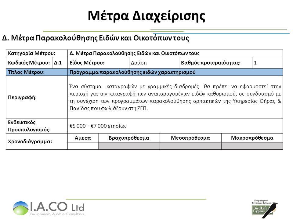 Μέτρα Διαχείρισης Μέτρα Παρακολούθησης Ειδών και Οικοτόπων τους Δ.