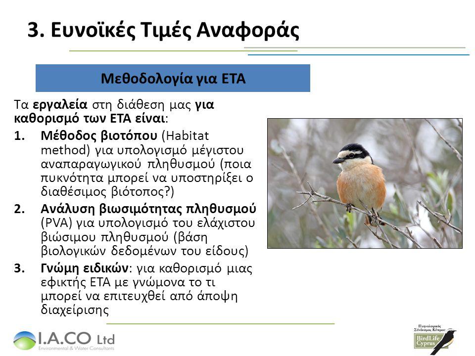 ΕΤΑ – Αποτελέσματα ανάλυσης ΕΙΔΟΣ ΕΥΝΟΙΚΕΣ ΤΙΜΕΣ ΑΝΑΦΟΡΑΣ (ΕΤΑ) Σε επίπεδο Κύπρου (αριθμός ζευγαριών) ΖΕΠ «Κοιλάδα Σαραμά» (αριθμός ζευγαριών) Coracias garrulus 3,50050 Oenanthe cypriaca 80,000350 Lanius nubicus 7,00050 Emberiza caesia 10,000250