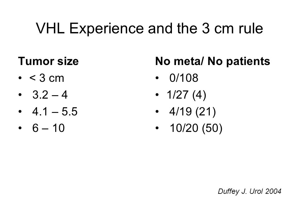 VHL Experience and the 3 cm rule Tumor size < 3 cm 3.2 – 4 4.1 – 5.5 6 – 10 No meta/ No patients 0/108 1/27 (4) 4/19 (21) 10/20 (50) Duffey J.