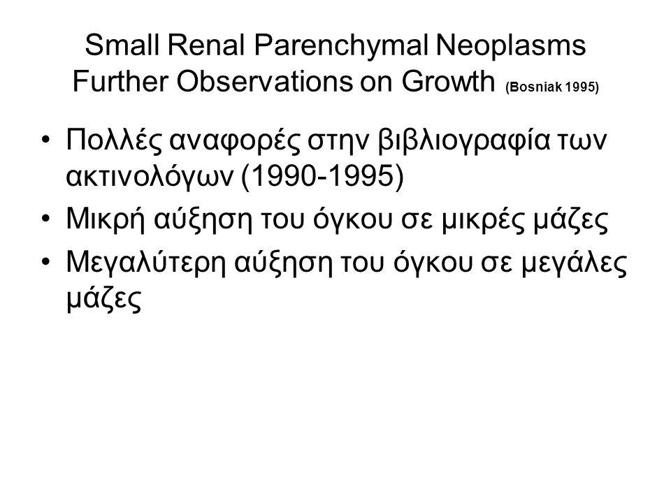 Small Renal Parenchymal Neoplasms Further Observations on Growth (Bosniak 1995) Πολλές αναφορές στην βιβλιογραφία των ακτινολόγων (1990-1995) Μικρή αύξηση του όγκου σε μικρές μάζες Μεγαλύτερη αύξηση του όγκου σε μεγάλες μάζες
