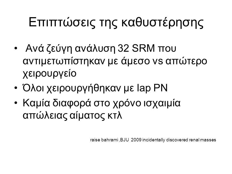 Επιπτώσεις της καθυστέρησης Ανά ζεύγη ανάλυση 32 SRM που αντιμετωπίστηκαν με άμεσο vs απώτερο χειρουργείο Όλοι χειρουργήθηκαν με lap PN Καμία διαφορά στο χρόνο ισχαιμία απώλειας αίματος κτλ raise bahrami,BJU 2009 incidentally discovered renal masses