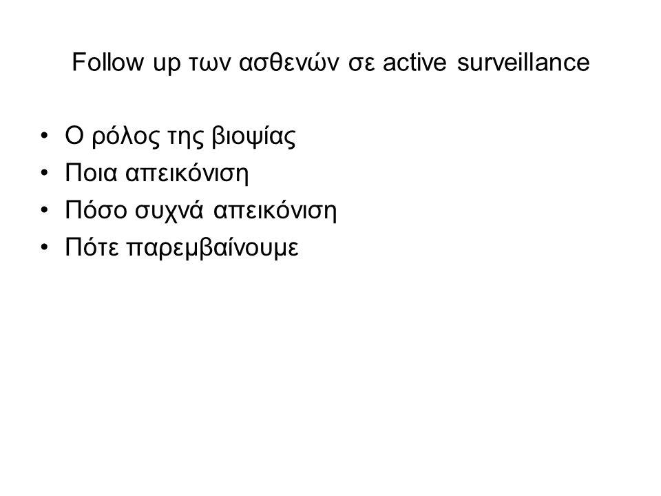 Follow up των ασθενών σε active surveillance Ο ρόλος της βιοψίας Ποια απεικόνιση Πόσο συχνά απεικόνιση Πότε παρεμβαίνουμε