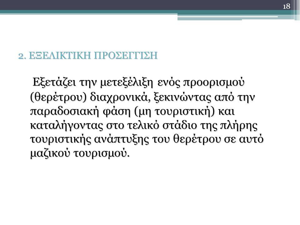2. ΕΞΕΛΙΚΤΙΚΗ ΠΡΟΣΕΓΓΙΣΗ Εξετάζει την μετεξέλιξη ενός προορισμού (θερέτρου) διαχρονικά, ξεκινώντας από την παραδοσιακή φάση (μη τουριστική) και καταλή