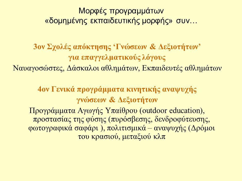 Μορφές προγραμμάτων «δομημένης εκπαιδευτικής μορφής» συν… 3ον Σχολές απόκτησης 'Γνώσεων & Δεξιοτήτων' για επαγγελματικούς λόγους Ναυαγοσώστες, Δάσκαλοι αθλημάτων, Εκπαιδευτές αθλημάτων 4ον Γενικά προγράμματα κινητικής αναψυχής γνώσεων & Δεξιοτήτων Προγράμματα Αγωγής Υπαίθρου (outdoor education), προστασίας της φύσης (πυρόσβεσης, δενδροφύτευσης, φωτογραφικά σαφάρι ), πολιτισμικά – αναψυχής (Δρόμοι του κρασιού, μεταξιού κλπ