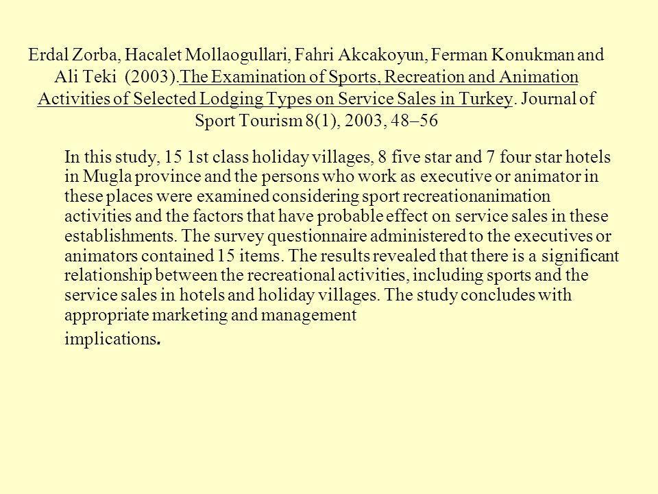 Erdal Zorba, Hacalet Mollaogullari, Fahri Akcakoyun, Ferman Konukman and Ali Teki (2003).The Examination of Sports, Recreation and Animation Activitie