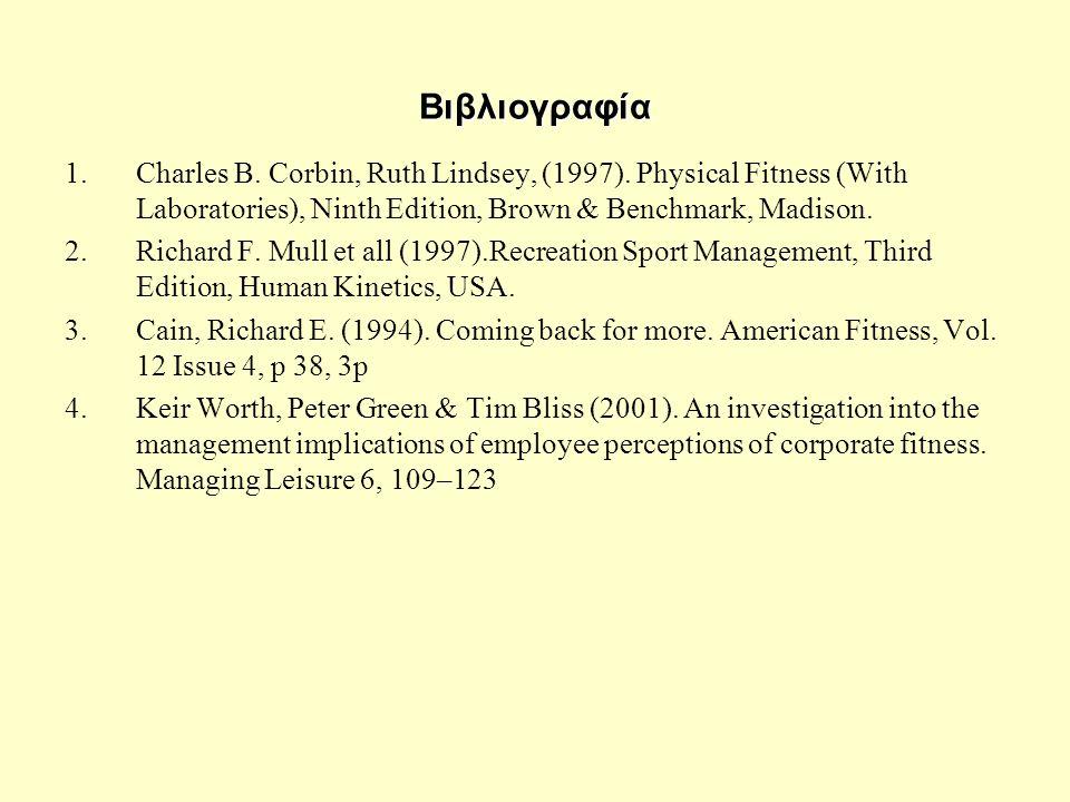 Βιβλιογραφία 1.Charles B. Corbin, Ruth Lindsey, (1997).