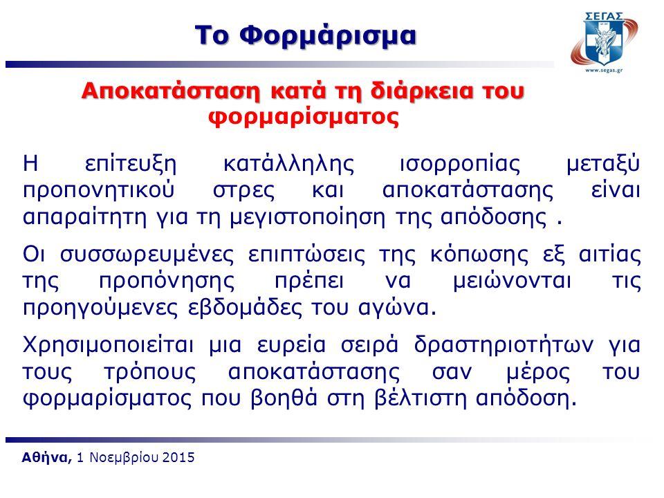 Αθήνα, 1 Νοεμβρίου 2015 Η επίτευξη κατάλληλης ισορροπίας μεταξύ προπονητικού στρες και αποκατάστασης είναι απαραίτητη για τη μεγιστοποίηση της απόδοση