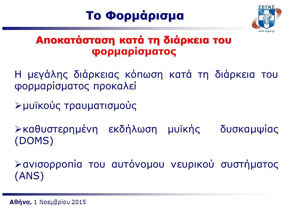 Αθήνα, 1 Νοεμβρίου 2015 Η μεγάλης διάρκειας κόπωση κατά τη διάρκεια του φορμαρίσματος προκαλεί  μυϊκούς τραυματισμούς  καθυστερημένη εκδήλωση μυϊκής