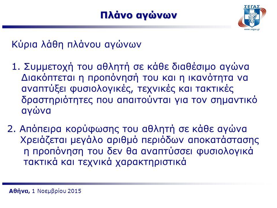 Αθήνα, 1 Νοεμβρίου 2015 Πλάνο αγώνων Κύρια λάθη πλάνου αγώνων 1. Συμμετοχή του αθλητή σε κάθε διαθέσιμο αγώνα Διακόπτεται η προπόνησή του και η ικανότ