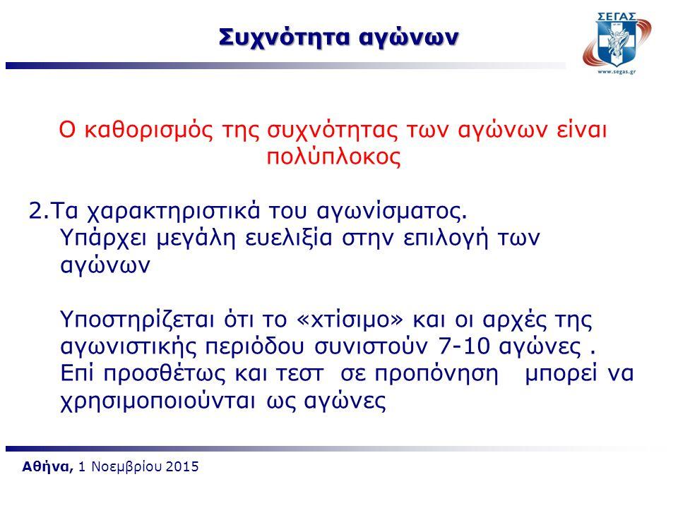Αθήνα, 1 Νοεμβρίου 2015 Ο καθορισμός της συχνότητας των αγώνων είναι πολύπλοκος 2.Τα χαρακτηριστικά του αγωνίσματος. Υπάρχει μεγάλη ευελιξία στην επιλ