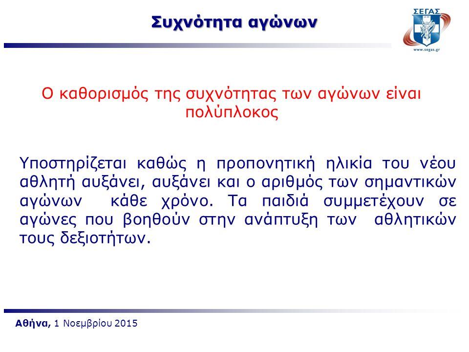 Αθήνα, 1 Νοεμβρίου 2015 Ο καθορισμός της συχνότητας των αγώνων είναι πολύπλοκος Υποστηρίζεται καθώς η προπονητική ηλικία του νέου αθλητή αυξάνει, αυξά