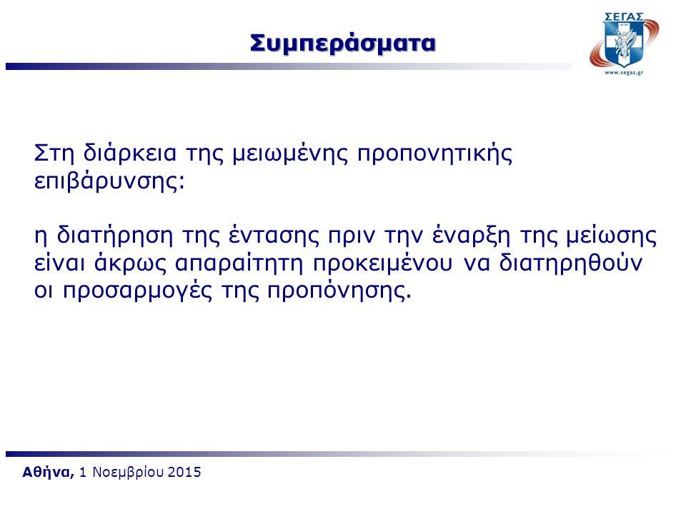 Αθήνα, 1 Νοεμβρίου 2015 Στη διάρκεια της μειωμένης προπονητικής επιβάρυνσης: η διατήρηση της έντασης πριν την έναρξη της μείωσης είναι άκρως απαραίτητ