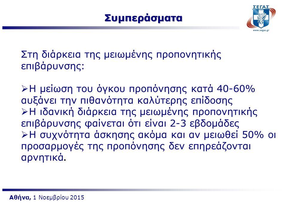 Αθήνα, 1 Νοεμβρίου 2015 Στη διάρκεια της μειωμένης προπονητικής επιβάρυνσης:  Η μείωση του όγκου προπόνησης κατά 40-60% αυξάνει την πιθανότητα καλύτε