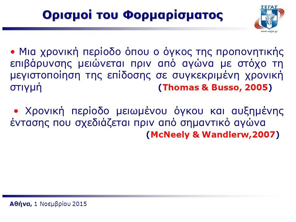 Αθήνα, 1 Νοεμβρίου 2015 Μια χρονική περίοδο όπου ο όγκος της προπονητικής επιβάρυνσης μειώνεται πριν από αγώνα με στόχο τη μεγιστοποίηση της επίδοσης
