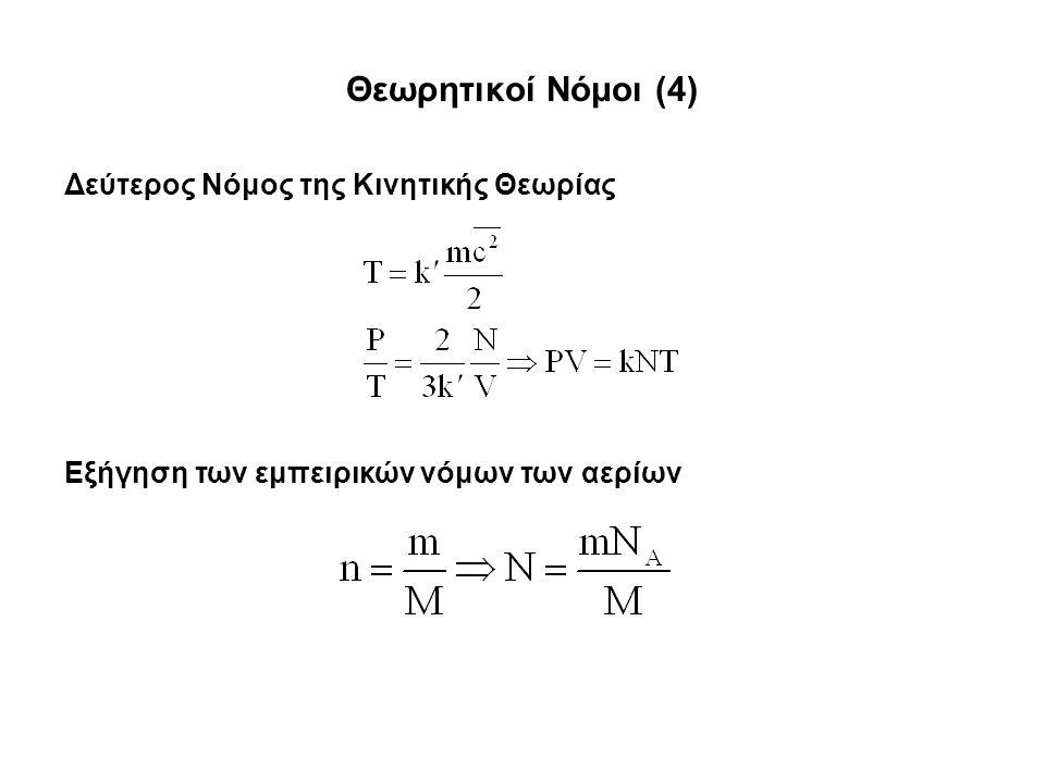 Θεωρητικοί Νόμοι (4) Δεύτερος Νόμος της Κινητικής Θεωρίας Εξήγηση των εμπειρικών νόμων των αερίων