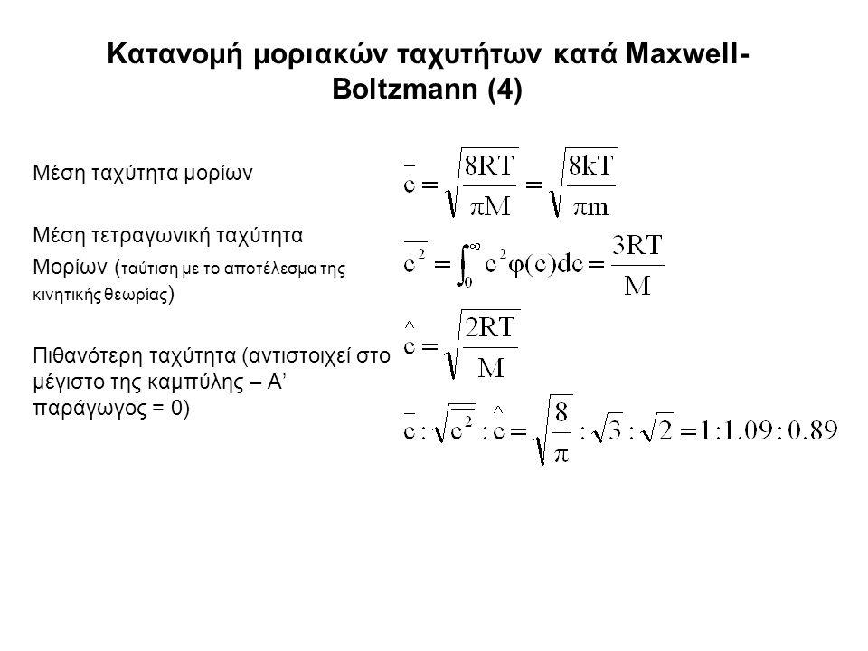 Κατανομή μοριακών ταχυτήτων κατά Maxwell- Boltzmann (4) Μέση ταχύτητα μορίων Μέση τετραγωνική ταχύτητα Μορίων ( ταύτιση με το αποτέλεσμα της κινητικής θεωρίας ) Πιθανότερη ταχύτητα (αντιστοιχεί στο μέγιστο της καμπύλης – Α' παράγωγος = 0)