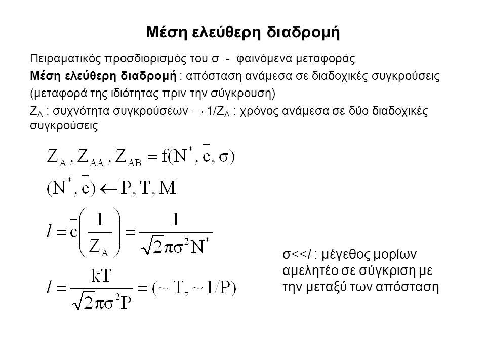 Μέση ελεύθερη διαδρομή Πειραματικός προσδιορισμός του σ - φαινόμενα μεταφοράς Μέση ελεύθερη διαδρομή : απόσταση ανάμεσα σε διαδοχικές συγκρούσεις (μεταφορά της ιδιότητας πριν την σύγκρουση) Ζ Α : συχνότητα συγκρούσεων  1/Ζ Α : χρόνος ανάμεσα σε δύο διαδοχικές συγκρούσεις σ<< l : μέγεθος μορίων αμελητέο σε σύγκριση με την μεταξύ των απόσταση
