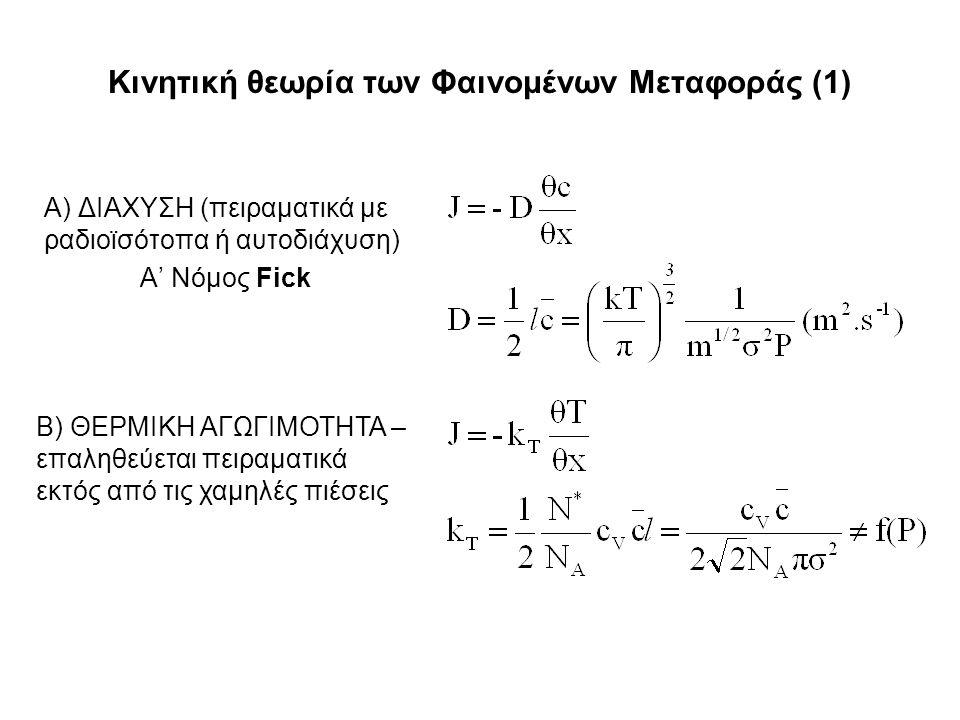 Κινητική θεωρία των Φαινομένων Μεταφοράς (1) Α) ΔΙΑΧΥΣΗ (πειραματικά με ραδιοϊσότοπα ή αυτοδιάχυση) Α' Νόμος Fick Β) ΘΕΡΜΙΚΗ ΑΓΩΓΙΜΟΤΗΤΑ – επαληθεύεται πειραματικά εκτός από τις χαμηλές πιέσεις