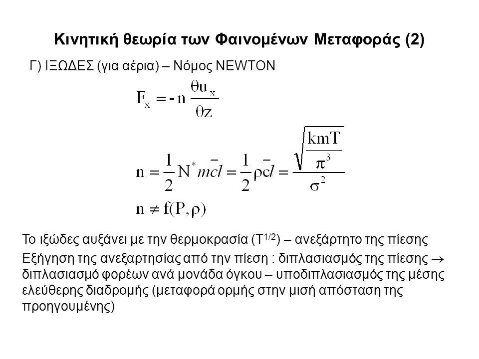 Κινητική θεωρία των Φαινομένων Μεταφοράς (2) Γ) ΙΞΩΔΕΣ (για αέρια) – Νόμος NEWTON Το ιξώδες αυξάνει με την θερμοκρασία (Τ 1/2 ) – ανεξάρτητο της πίεσης Εξήγηση της ανεξαρτησίας από την πίεση : διπλασιασμός της πίεσης  διπλασιασμό φορέων ανά μονάδα όγκου – υποδιπλασιασμός της μέσης ελεύθερης διαδρομής (μεταφορά ορμής στην μισή απόσταση της προηγουμένης)