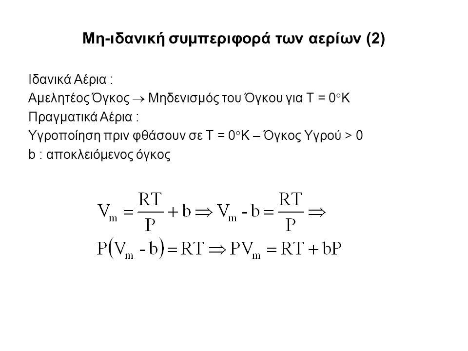 Μη-ιδανική συμπεριφορά των αερίων (2) Ιδανικά Αέρια : Αμελητέος Όγκος  Μηδενισμός του Όγκου για Τ = 0  Κ Πραγματικά Αέρια : Υγροποίηση πριν φθάσουν σε Τ = 0  Κ – Όγκος Υγρού > 0 b : αποκλειόμενος όγκος