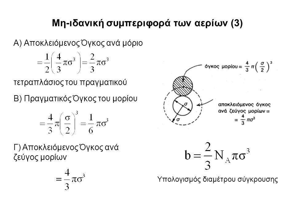 Μη-ιδανική συμπεριφορά των αερίων (3) Α) Αποκλειόμενος Όγκος ανά μόριο Β) Πραγματικός Όγκος του μορίου Γ) Αποκλειόμενος Όγκος ανά ζεύγος μορίων τετραπλάσιος του πραγματικού Υπολογισμός διαμέτρου σύγκρουσης