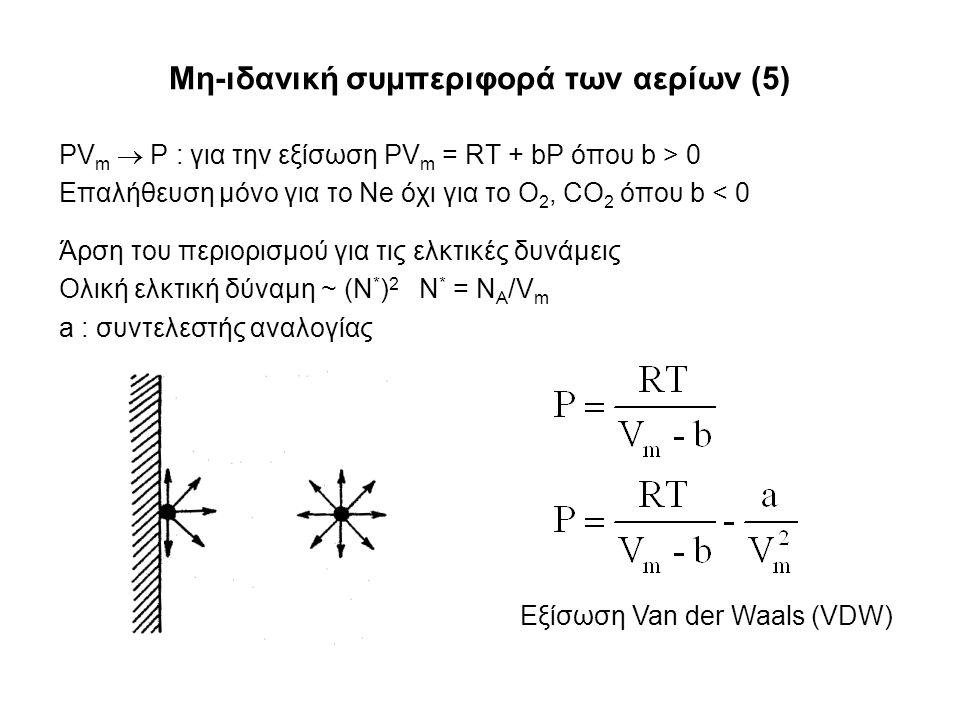 Μη-ιδανική συμπεριφορά των αερίων (5) PV m  P : για την εξίσωση PV m = RT + bP όπου b > 0 Επαλήθευση μόνο για το Ne όχι για το O 2, CO 2 όπου b < 0 Άρση του περιορισμού για τις ελκτικές δυνάμεις Ολική ελκτική δύναμη ~ (Ν * ) 2 Ν * = Ν Α /V m a : συντελεστής αναλογίας Εξίσωση Van der Waals (VDW)