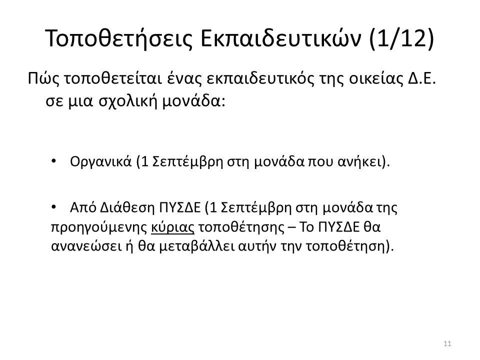 Τοποθετήσεις Εκπαιδευτικών (1/12) Πώς τοποθετείται ένας εκπαιδευτικός της οικείας Δ.Ε. σε μια σχολική μονάδα: Οργανικά (1 Σεπτέμβρη στη μονάδα που ανή