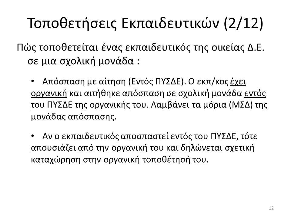 Τοποθετήσεις Εκπαιδευτικών (2/12) Πώς τοποθετείται ένας εκπαιδευτικός της οικείας Δ.Ε. σε μια σχολική μονάδα : Απόσπαση με αίτηση (Εντός ΠΥΣΔΕ). Ο εκπ