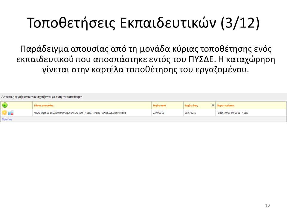 Τοποθετήσεις Εκπαιδευτικών (3/12) Παράδειγμα απουσίας από τη μονάδα κύριας τοποθέτησης ενός εκπαιδευτικού που αποσπάστηκε εντός του ΠΥΣΔΕ. Η καταχώρησ