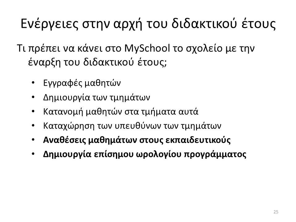 Ενέργειες στην αρχή του διδακτικού έτους Τι πρέπει να κάνει στο MySchool το σχολείο με την έναρξη του διδακτικού έτους; Εγγραφές μαθητών Δημιουργία τω