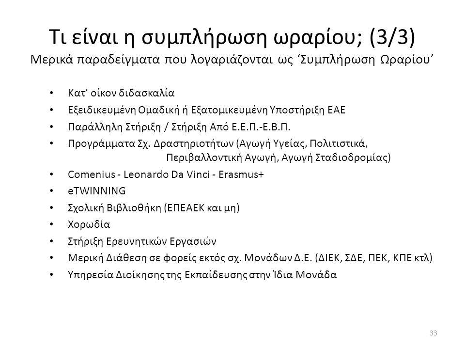 Τι είναι η συμπλήρωση ωραρίου; (3/3) Μερικά παραδείγματα που λογαριάζονται ως 'Συμπλήρωση Ωραρίου' 33 Κατ' οίκον διδασκαλία Εξειδικευμένη Ομαδική ή Εξ