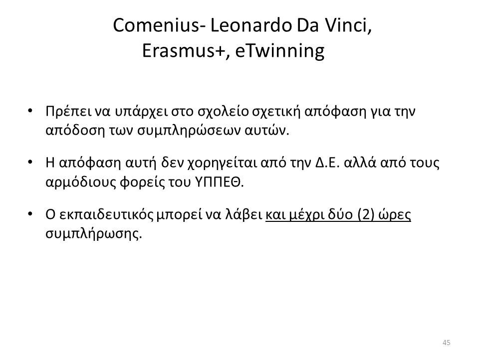 Comenius- Leonardo Da Vinci, Erasmus+, eTwinning Πρέπει να υπάρχει στο σχολείο σχετική απόφαση για την απόδοση των συμπληρώσεων αυτών. Η απόφαση αυτή