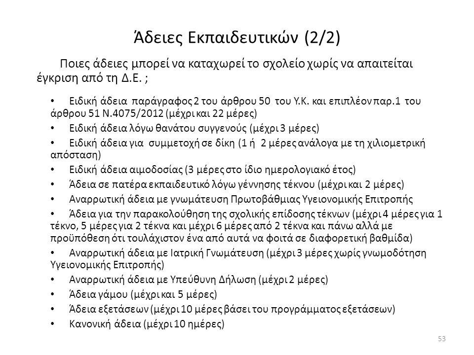 Άδειες Εκπαιδευτικών (2/2) Ποιες άδειες μπορεί να καταχωρεί το σχολείο χωρίς να απαιτείται έγκριση από τη Δ.Ε. ; Ειδική άδεια παράγραφος 2 του άρθρου