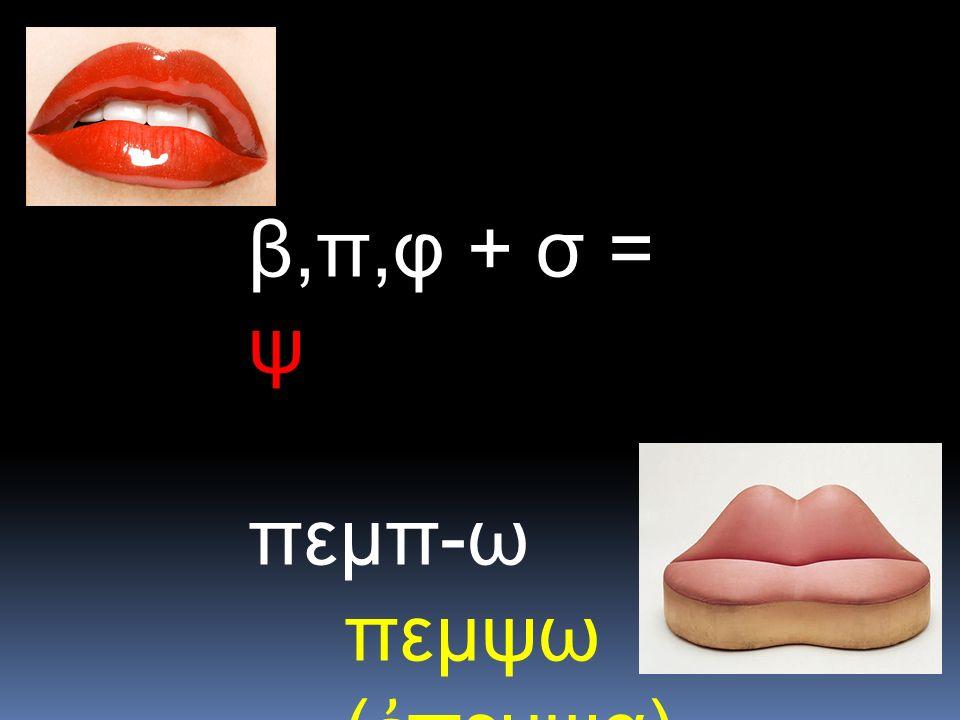 β,π,φ + σ = ψ πεμπ-ω πεμψω ( ἐ πεμψα) Labial