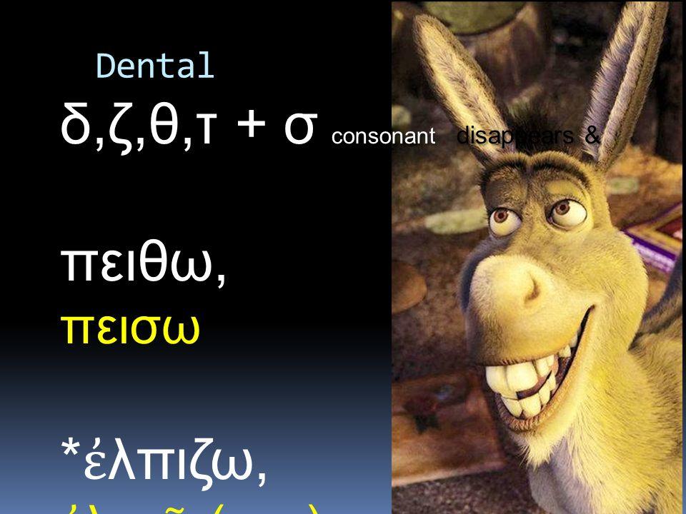 consonant disappears & leaves δ,ζ,θ,τ + σ consonant disappears & leaves σ πειθω, πεισω * ἐ λπιζω, ἐ λπι ῶ (-εω) Dental
