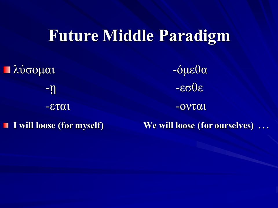 Future Middle Paradigm λύσομαι -όμεθα - ῃ -εσθε -εται -ονται I will loose (for myself) We will loose (for ourselves) … I will loose (for myself) We will loose (for ourselves) …