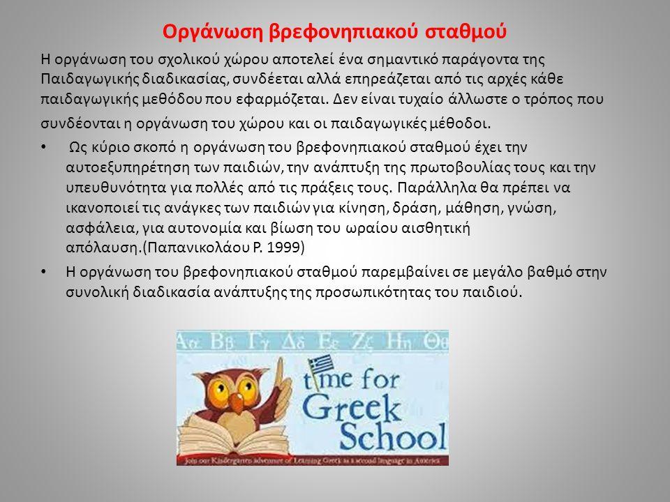 Οργάνωση βρεφονηπιακού σταθμού Η οργάνωση του σχολικού χώρου αποτελεί ένα σημαντικό παράγοντα της Παιδαγωγικής διαδικασίας, συνδέεται αλλά επηρεάζεται